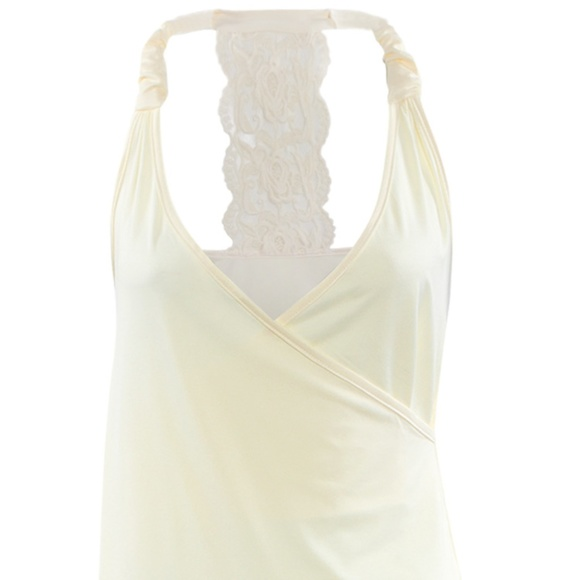 3748a647f4360 Ivory Tank Top - Lace T Back - Sexy and Soft - M